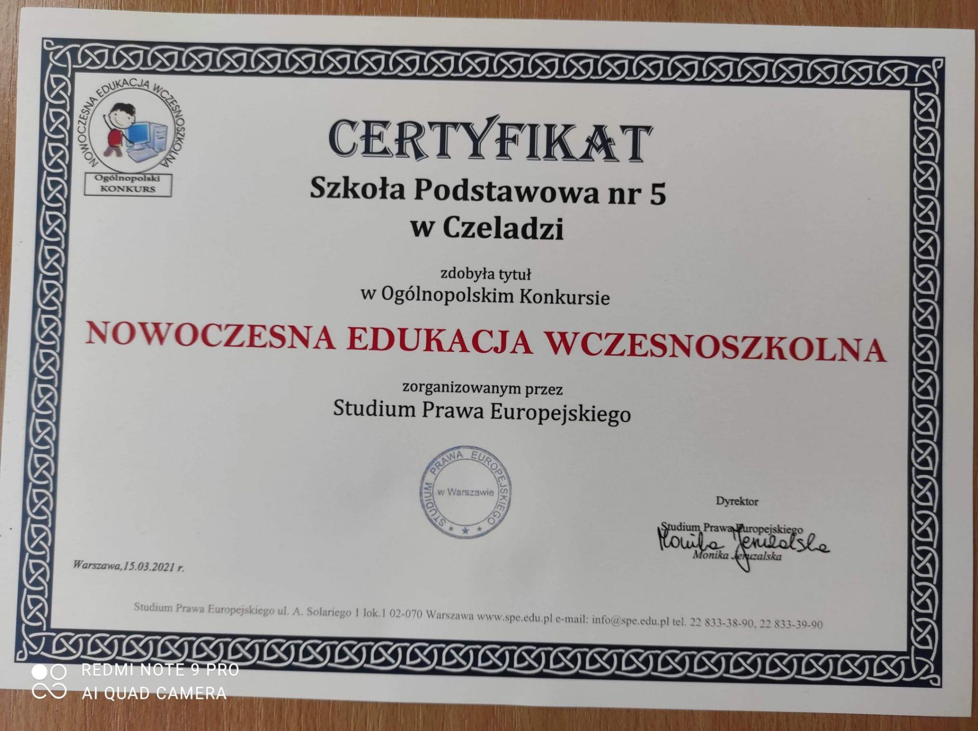 Certyfikat Nowoczesnej Edukacji Wczesnoszkolnej